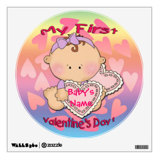 My 1st Valentine's Day (girl) Round Wall Decal