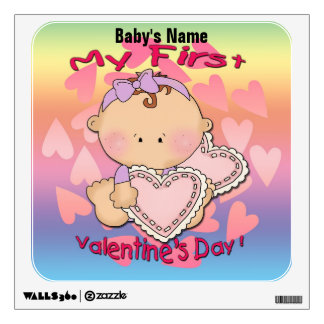 My 1st Valentine's Day (girl) Square Wall Decal