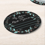 """My Advice for the Bride and Groom Round Paper Coaster<br><div class=""""desc"""">Available option to customize the color of the font and font style</div>"""