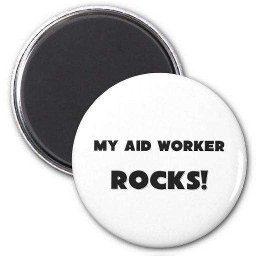 MY Aid Worker ROCKS! Refrigerator Magnets