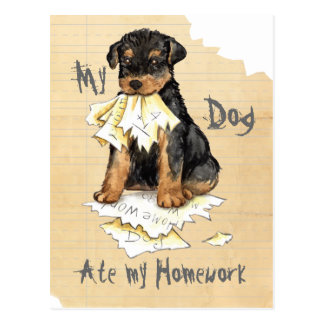 My Airedale Ate My Homework Post Card