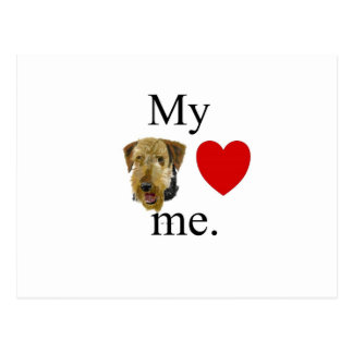 My airedale lrves me postcard