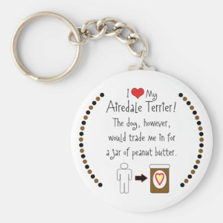 My Airedale Terrier Loves Peanut Butter Keychain