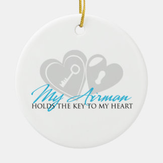 My Airman Holds the Key to my Heart Ceramic Ornament