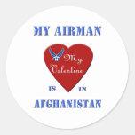 My Airman, My Valentine Round Stickers