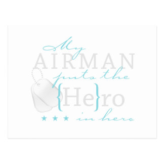 My Airman puts the He in Hero Postcard