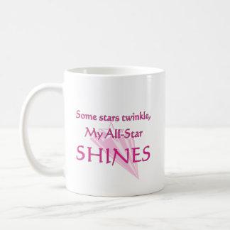 My all-star shines:  Proud cheer mom coffee mugs