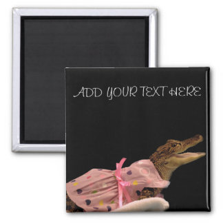 MY ALLIGATOR IN A PINK DRESS 2 INCH SQUARE MAGNET