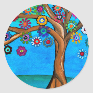MY ALLY TREE OF LIFE WHIMSICAL PAINTING CLASSIC ROUND STICKER