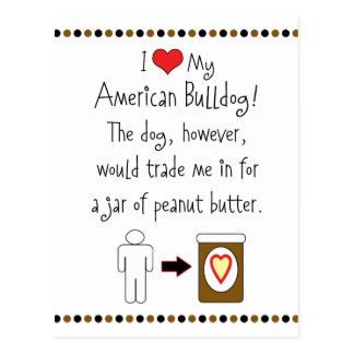 My American Bulldog Loves Peanut Butter Postcard