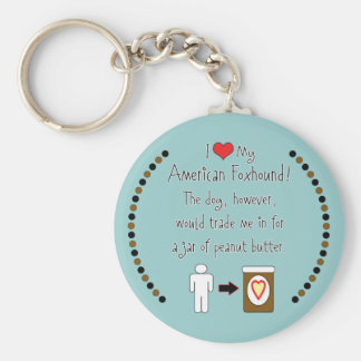 My American Foxhound Loves Peanut Butter Keychain