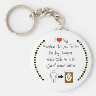 My American Hairless Terrier Loves Peanut Butter Keychain