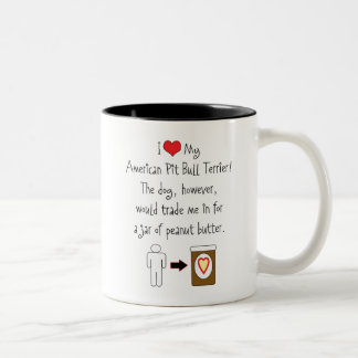 My American Pit Bull Terrier Loves Peanut Butter Two-Tone Coffee Mug