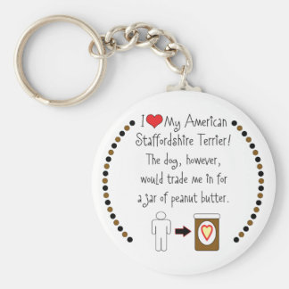 My American Staffordshire Loves Peanut Butter Keychain