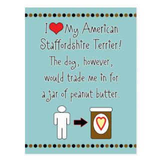 My American Staffordshire Loves Peanut Butter Postcard