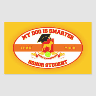 My Amstaff Is Smarter Rectangle Sticker