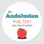 My Andalusian is All That! Funny Horse Round Stickers