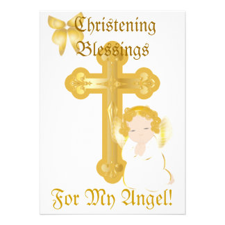 My Angel's Christening Blessings-Customize Invitations