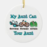 My Aunt Can Outswim Outbike Outrun Triathlon Ornam Christmas Tree Ornaments