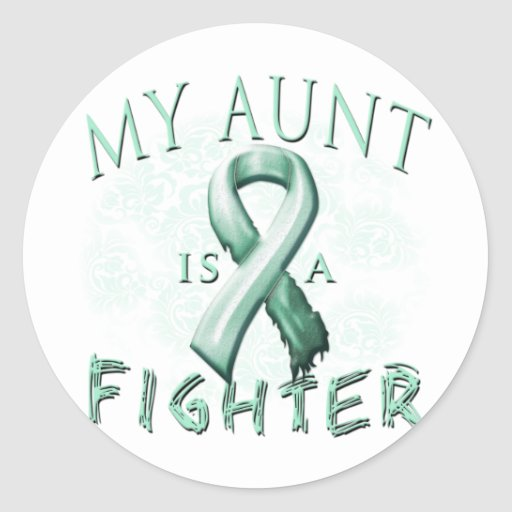 My Aunt is a Fighter Teal Classic Round Sticker