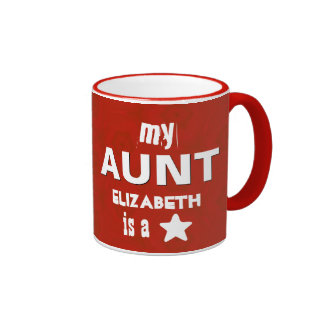 My AUNT is a Star Custom Name V10 Red White Ringer Coffee Mug
