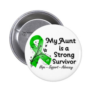 My Aunt is a Strong Survivor Green Ribbon Button