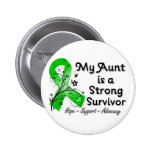 My Aunt is a Strong Survivor Green Ribbon Pinback Button