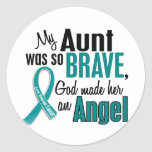 My Aunt Is An Angel 1 Ovarian Cancer Round Sticker