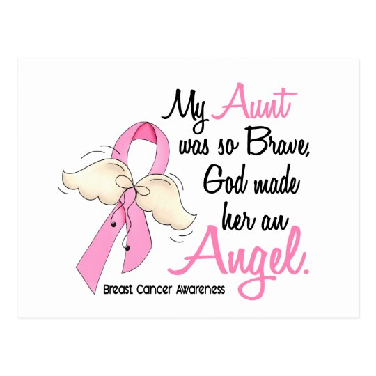 My Aunt Is An Angel 2 Breast Cancer Postcard