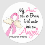 My Aunt Is An Angel 2 Breast Cancer Classic Round Sticker