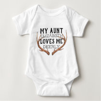 my aunt loves me, aunt shirt, deer antlers baby bodysuit