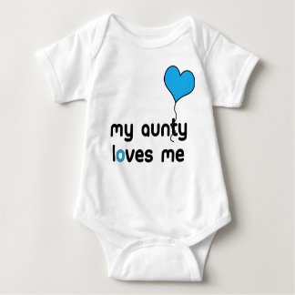 My Aunt loves me bright blue Heart Balloon Baby Bodysuit