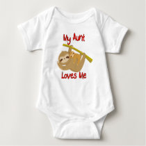 My Aunt Loves Me Sloth Baby Bodysuit