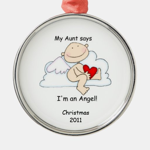 My Aunt says I'm an Angel! Round Metal Christmas Ornament
