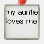 My Auntie Loves Me.png Square Metal Christmas Ornament