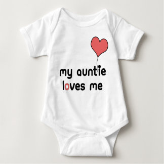My Auntie loves me Red Heart Balloon Baby Bodysuit