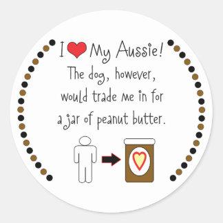 My Aussie Loves Peanut Butter Classic Round Sticker