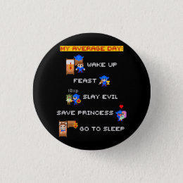 My Average Day (8-bit RPG) Pinback Button