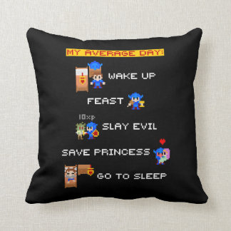 My Average Day (8-bit RPG) Throw Pillow