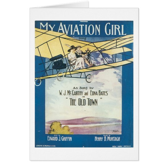 My Aviation GIrl Vintage Songbook Cover Card