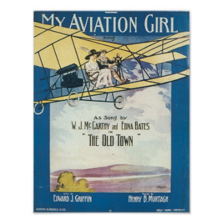 My Aviation GIrl Vintage Songbook Cover Poster