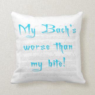 My Bach's Worse than my Bite (blue) throw pillow