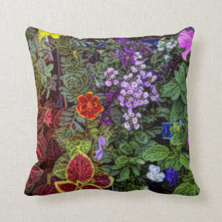 My Back Garden-Coleus,Marigolds, and Petunias Throw Pillow