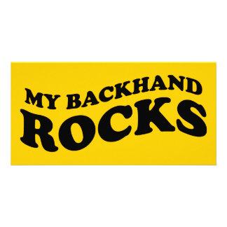 My backhand rocks tennis photo card
