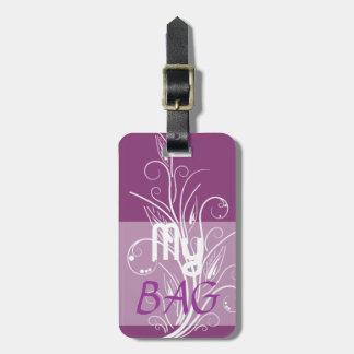 My Bag Purple Floral Swirls Luggage Tag