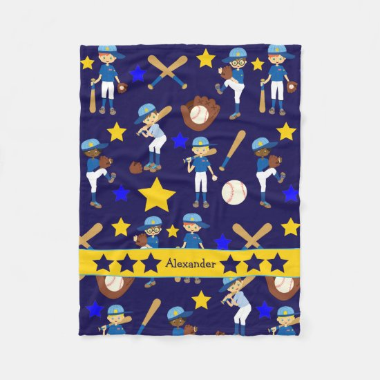 My Baseball Team Kids Blue Gold Fleece Blanket