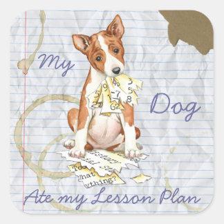 My Basenji Ate My Lesson Plan Square Sticker