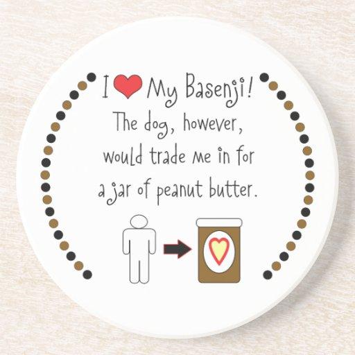 My Basenji Loves Peanut Butter Coasters
