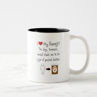 My Basenji Loves Peanut Butter Two-Tone Coffee Mug