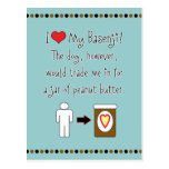 My Basenji Loves Peanut Butter Postcard